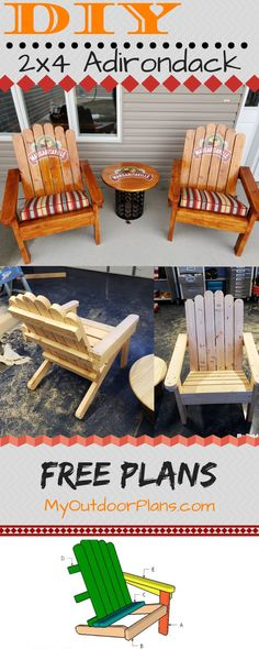 How to Build Adirondack Chairs from myoutdoorplans for this post.Step by step guide on how to build an Adirondack chair from These chairs are a great addition to your backyard patio and are super simple and cheap to build. Woodworking Furniture Plans, Easy Woodworking Projects, Diy Wood Projects, Woodworking Tools, Youtube Woodworking, Woodworking Equipment, Woodworking Magazine, Woodworking Fasteners, Green Woodworking