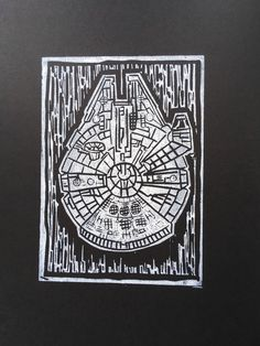 This is a linocut print of the Millennium Falcon, or as I call it, the Linoleum Falcon. It is printed in white water-based ink on high quality black card. Millennium Falcon, Linocut Prints, Ink, Cards, Etsy, India Ink, Map