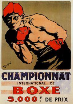 Championnat of boxe Vintage Artwork, Vintage Posters, Boxing Posters, Sports Posters, Sports Art, Boxing Images, Mma, Theme Sport, Vintage Typography