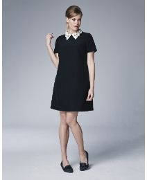 Shift Dress With Detachable Pearl Collar