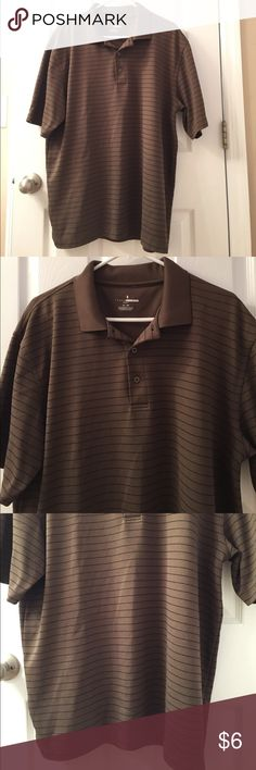 GrandSlam Airflow Golf Polo - Size XLarge This shirt Sleeved polo is in excellent condition. It is brown with fine black stripes. It is short sleeved. Has three buttons. It is a polo. Size X-Large. All items have been pre owned, lightly used, NWOT or NWT. They come from a smoke free home. I can not promise items are in perfect condition but they have been cared for extremely well. If there are issues please read the description and look at the images posted. If you have questions please ask…