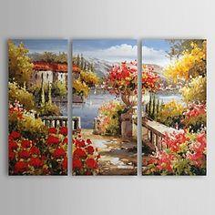 HANDMÅLAD Landskap Tre paneler Kanvas Hem-dekoration