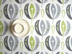 Tablecloth white grey green tender shoots abstract by Dreamzzzzz