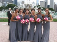 gray pink wedding dresses