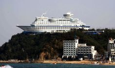 "If you were to see this photograph with no context you would probably wonder: ""How the hell that that ship end up there?"" However, this ship is actually a hotel in South Korea. The Sun Cruise Resort and Yacht is 165 metres long and 45 metres wide; Top Hotels, Hotels And Resorts, Local Hotels, Unusual Hotels, Amazing Hotels, The Sound Of Waves, South Korea Travel, North Korea, Royal Caribbean"