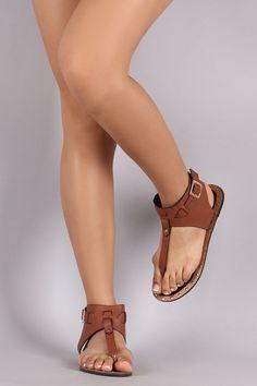 Qupid Snake T-Strap Ankle Cuff Thong Flat Sandal Cute Sandals bde689004e2a