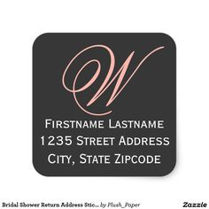 Bridal Shower Return Address Sticker | Black Peach