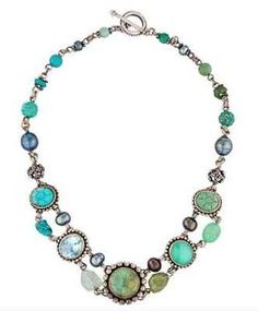 STEPHEN-DWECK-Sterling-Silver-Necklace-w-Stones-in-Blue-Green-Topaz-Pearls  US $445.00
