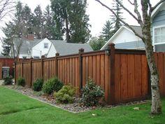 Custom Cedar Wood Fence With 6x6 Posts 6 Overlapping