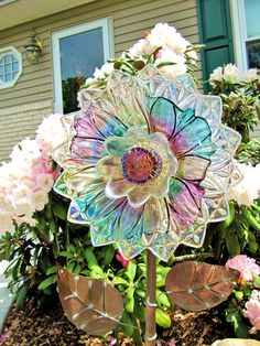 vintage glass plate flower upcycled glass art plate flowers