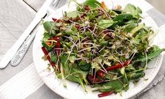 Spinach, Sprout And Pear Salad With Walnut Crumble
