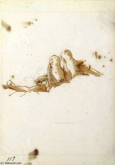 'A reclining figure seen from below' by Giovanni Battista Tiepolo (1696-1770, Italy)