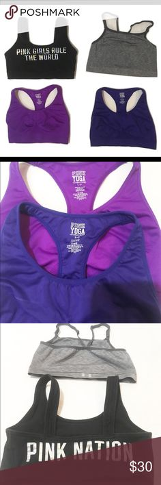 Pink Victoria's Secret bundle of sport bras 4 sport bras total, three are Pink and one is under amour. The under amour is size m but fits small the other three are small! EUC!. Price for all 3! PINK Victoria's Secret Intimates & Sleepwear Bras