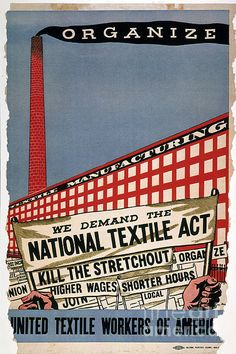 Ben Shahn  - United Textile Workers of America Labor Poster, 1935  / Granger