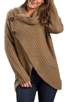 Khaki Buttoned Wrap Cowl Neck Sweater modeshe.com #Brown #women #fashion #unique #beautiful #tendance