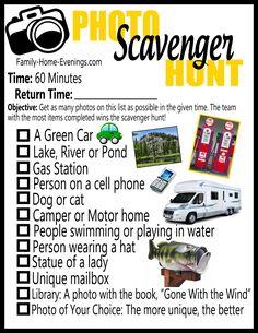 Family Home Evening-Photo scavenger hunt list copy