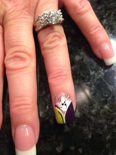 Yellow and purple nail design