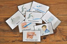 Brushing teeth sequencing cards. Links to a blog that has a cute brushing teeth activity with hands-on stuff.