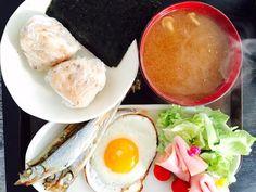 Capelin, sunny side up, ham salad, chicken flavor onigiri w/ nori, nameko mushroom miso soup:-)