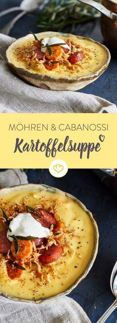 Die herbstliche Kartoffelsuppe mit Möhren ist der perfekte Seelewärmer an kalten Tagen. Mit würziger Cabanossi und Röstzwiebeln wird's herzhaft lecker.