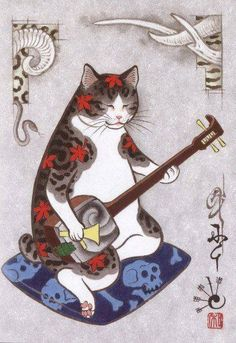 California based Japanese artist Kazuaki Horitomo composes surreal illustrations that depict adorable scenes with cats in them. Tattoo Gato, Cat Tattoos, Oriental Cat, Japanese Cat, Japanese American, Japon Illustration, Photo Chat, Japanese Prints, Japan Art