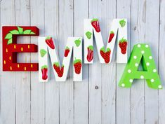 Strawberry letters for a berry special occasion! First Birthday Party Themes, Birthday Party Decorations, Girl Birthday, Diy Letters, Painted Letters, Baby Shower Themes, Baby Shower Decorations, Strawberry Shortcake Party, Summer Crafts