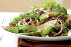 Grilled Chicken Salad with Cranberries, Avocado, and Goat Cheese  Photo by: