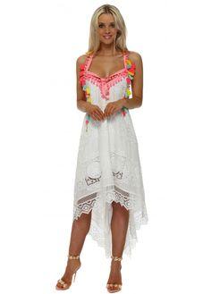 86df3b4541 LAURIE & JOE White Lace Neon Pom Pom Handkerchief Dress Handkerchief Dress,  Absolutely Stunning,