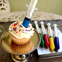 Whether you are a Mad Scientist or a Sweet Nurse, it's time to take that syringe and infuse your cupcakes with flavors of your choosing. I came up with this...