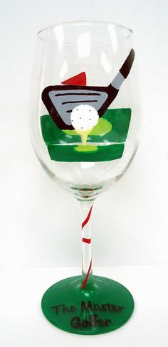 One oz wine glass For the Master Golfer in your life. This wine glass has been hand painted with golf ball on tee on one side and Fun Wine Glasses, Decorated Wine Glasses, Hand Painted Wine Glasses, Wine Glass Crafts, Wine Craft, Paint And Drink, Wine Painting, Arts And Crafts, Diy Crafts