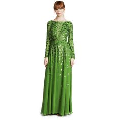 Temperley London Celestial Long Dress ($2,850) ❤ liked on Polyvore featuring dresses, absinthe, green sequin dress, colorful maxi dress, maxi dresses, long green dress and 3/4 sleeve dress