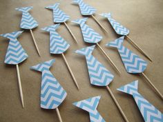 This listing is for 12 chevron neck tie cupcake toppers. These neck ties are made out of blue chevron styled card stock. Each neck tie measures Cupcake Flags, Cupcake Toppers, Principal Retirement, Retirement Ideas, Blue Chevron, Card Stock, Baby Shower, Neck Ties, Crystals