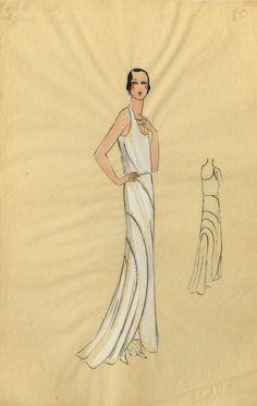 1920s Lanvin of Paris Fashion Watercolour