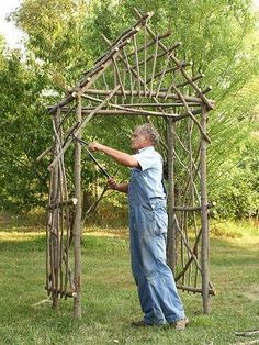 Step by step instructions on how to make a twig arbor.