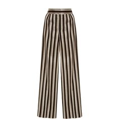 Protagonist Cropped Wide Leg Trouser (€715) ❤ liked on Polyvore featuring pants, capris, stripe, stripe pants, brown pants, cropped trousers, wide leg cropped pants and wide leg trousers