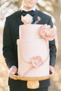 Two tier blush wedding cake: http://www.stylemepretty.com/little-black-book-blog/2017/02/02/romantic-soft-styled-shoot-inspired-by-tara-la-tour-dress/ Photography: Elizabeth Fogarty - http://www.elizabethfogartyphotography.com/