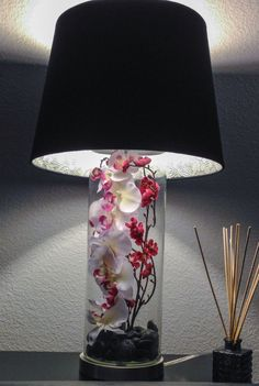 Fillable lamp with orchids