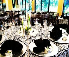 Black and White Wedding Affair at Casa de Lago Events #wedding #weddingreception #blackandwhite #lilicenterpiece