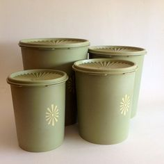 Vintage Avocado Green Tupperware Canisters Extra Large Canisters Vintage Kitchen Storage Containers