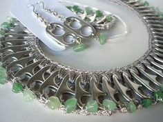 Unique Junktique- Tuesdays Top Five Favorite Junk Finds - Featuring Soda Pop Top Tab Art aventurine necklace created by Claudia Zimmer Soda Tab Crafts, Can Tab Crafts, Pop Top Crafts, Pop Can Tabs, Plastic Bag Crochet, Soda Tabs, Pop Cans, Bijoux Diy, Jewelry Crafts