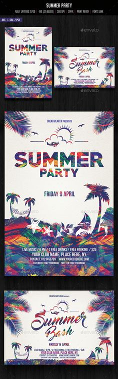 Summer Party Flyer Template PSD. Download here: http://graphicriver.net/item/summer-party-flyer/15140036?ref=ksioks                                                                                                                                                     More