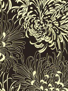 Chrysanthemum Wallpaper l American Blinds.com l Graphic Mod Mum Black and White
