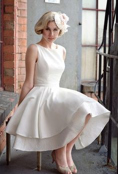 Short Wedding Dress, skip the hat, add some jewels.