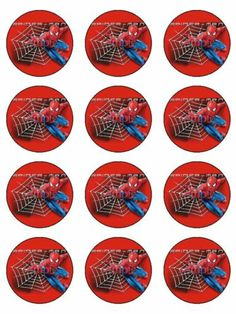 12 Spiderman Custom Edible Icing Cupcake Cup Cake Decoration Cake Image Toppers | eBay