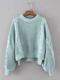 To find out about the Lantern Sleeve Cable Knit Sweater at SHEIN, part of our latest Sweaters ready to shop online today! Trendy Outfits, Fall Outfits, Fashion Outfits, Fashion Styles, Winter Sweaters, Cable Knit Sweaters, Moda Casual, Knit Fashion, Fashion Fashion