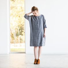 Washed grey linen wool blend tunic NOVEMBER / Tunic dress in