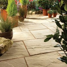 Cotswold Ashbourne Mixed size paving pack - B&Q for all your home and garden supplies and advice on all the latest DIY trends Concrete Paving Slabs, Patio Slabs, Paved Patio, Paving Stones, Sandstone Paving, Flagstone Patio, Garden Paving, Garden Landscaping, Back Gardens