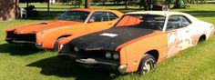 Couple of 1970 Mercury Cyclone 429 Spoilers sitting in a yard in Ontario Canada
