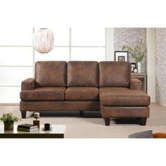 ROCK IT Canapé d'angle réversible 5 places - Tissu marron effet vieilli - Vintage -
