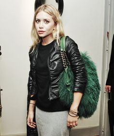 Ash with bag by Louboutin, ruched leather jacket